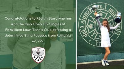 Realtin Stara Irish Open U12 Galway Lawn Tennis Club